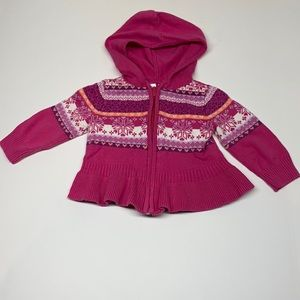 Pink Knitted sweater with Zipper 12M
